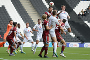 Port Vale defender Remi Streete (4) heads clear  during the EFL Sky Bet League 1 match between Milton Keynes Dons and Port Vale at stadium:mk, Milton Keynes, England on 9 October 2016. Photo by Dennis Goodwin.