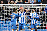Joao Teixeira celebrates with Bruno Saltor  after Teixeira  scores during the Sky Bet Championship match between Brighton and Hove Albion and Birmingham City at the American Express Community Stadium, Brighton and Hove, England on 21 February 2015.
