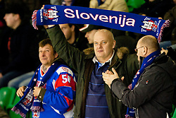 Fans of Slovenia during ice-hockey match between Slovenia and Russia B in Slovenia Euro ice hockey challenge, on December 16, 2011 at Hala Tivoli, Ljubljana, Slovenia. (Photo By Matic Klansek Velej / Sportida)