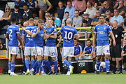 Celebrations as Ipswich Town defender Luke Garbutt scores the opening goal during the EFL Sky Bet League 1 match between Burton Albion and Ipswich Town at the Pirelli Stadium, Burton upon Trent, England on 3 August 2019.