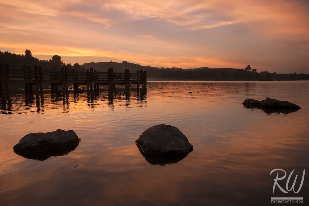 Puddingstone Lake at Sunset, Frank G. Bonelli County Park, San Dimas, California