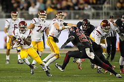 SANTA CLARA, CA - DECEMBER 05:  Running back Justin Davis #22 of the USC Trojans rushes up field against the Stanford Cardinal during the third quarter of the Pac-12 Championship game at Levi's Stadium on December 5, 2015 in Santa Clara, California. The Stanford Cardinal defeated the USC Trojans 41-22. (Photo by Jason O. Watson/Getty Images) *** Local Caption *** Justin Davis