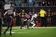Miami Dolphins wide receiver DeVante Parker (11) and Houston Texans defensive back Justin Reid (20) in action during the NFL week 8 regular season football game against the Houston Texans on Thursday, Oct. 25, 2018 in Houston. The Texans won the game 42-23. (©Paul Anthony Spinelli)