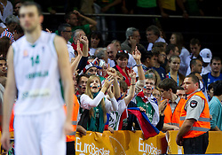Mirza Begic of Slovenia and Slovenian fans after the basketball game between National basketball teams of Slovenia and Lithuania at of FIBA Europe Eurobasket Lithuania 2011, on September 15, 2011, in Arena Zalgirio, Kaunas, Lithuania. Lithuania defeated Slovenia 80-77.  (Photo by Vid Ponikvar / Sportida)