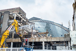Redevelopment and demolition works at Queen Screen Station on George Square revealing original old glass atrium building , Glasgow, Scotland, United Kingdom.