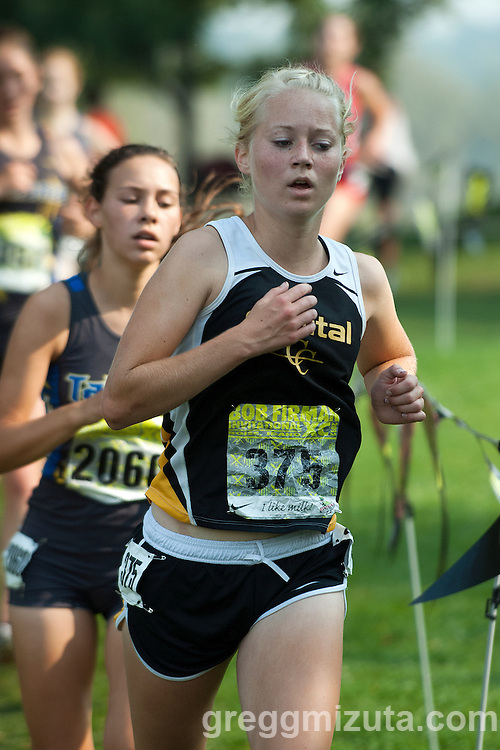 Capital's Julie Taylor during the second loop of the Bob Firman XC Invitational Girls Elite Varsity race at Eagle Island State Park in Eagle, Idaho on September 22, 2012. Taylor finished the 5k race in 20:38.67.