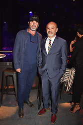 """Eric Cantona and Christian Louboutin at """"Hoping For Palestine"""" Benefit Concert For Palestinian Refugee Children held at The Roundhouse, Chalk Farm Road, England. 04 June 2018. <br /> Photo by Dominic O'Neill/SilverHub 0203 174 1069/ 07711972644 - Editors@silverhubmedia.com"""