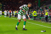 Christopher Jullien (#2) of Celtic see's a scarf lying on the pitch during the Europa League match between Celtic and Rennes at Celtic Park, Glasgow, Scotland on 28 November 2019.