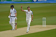 Ben Coad of Yorkshire celebrates taking the wicket of Michael Carberry of Hampshire during the Specsavers County Champ Div 1 match between Hampshire County Cricket Club and Yorkshire County Cricket Club at the Ageas Bowl, Southampton, United Kingdom on 21 April 2017. Photo by Graham Hunt.