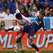 Tim Cahill, New York Red Bulls (left) and Chris Rolfe, Chicago Fire, challenge for the ball during the New York Red Bulls V Chicago Fire Major League Soccer regular season match at Red Bull Arena, Harrison. New Jersey. USA. 6th October 2012. Photo Tim Clayton