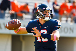 Oct 22, 2011; Charlottesville VA, USA;  Virginia Cavaliers quarterback Michael Rocco (16) warms up before the game against the North Carolina State Wolfpack at the Scott Stadium.  Mandatory Credit: Jason O. Watson-US PRESSWIRE