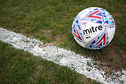 Mitre football on the pitch at Moss Rose ahead of the EFL Sky Bet League 2 match between Macclesfield Town and Forest Green Rovers at Moss Rose, Macclesfield, United Kingdom on 25 January 2020.
