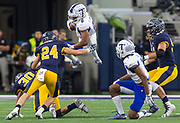Temple's Terrance Johnson (6) leaps straight into the path of Highland Park's O'Neil Sitzer (24) during game action of the Class 5A Division I state championship at AT&T Stadium in Arlington on Saturday, Dec. 17, 2016.