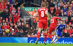LIVERPOOL, ENGLAND - Saturday, November 8, 2014: Liverpool's Emre Can scores the first goal against Chelsea during the Premier League match at Anfield. (Pic by David Rawcliffe/Propaganda)