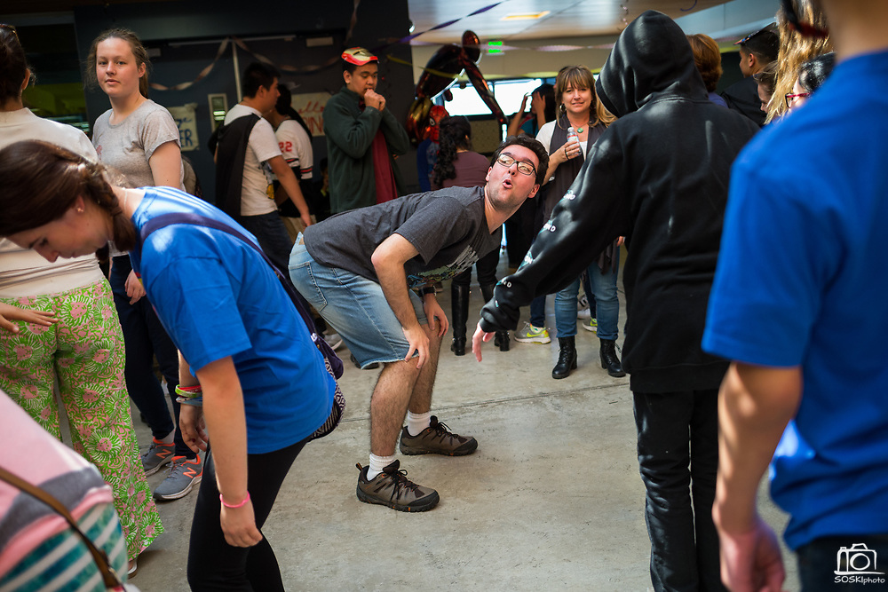 Senior Alejandro Cary dances during the Best Buddies Special Education Dance at Milpitas High School in Milpitas, California, on April 21, 2017. (Stan Olszewski/SOSKIphoto)