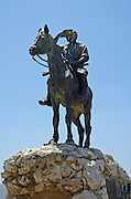 "Statue of Alexander Zeid, Hashomer, Galilee, Israel. The legendary guard Alexander Zeid, who lived and guarded over the lands of the Jewish National Fund (KKL) in the Yizrael valey, Israel. Hashomer - (""The Guard"") - Jewish defense organization in Palestine organized 1909, ceased to operate after founding of the Haganah in 1920. The purpose of Hashomer was to provide guard services for Jewish settlements,"