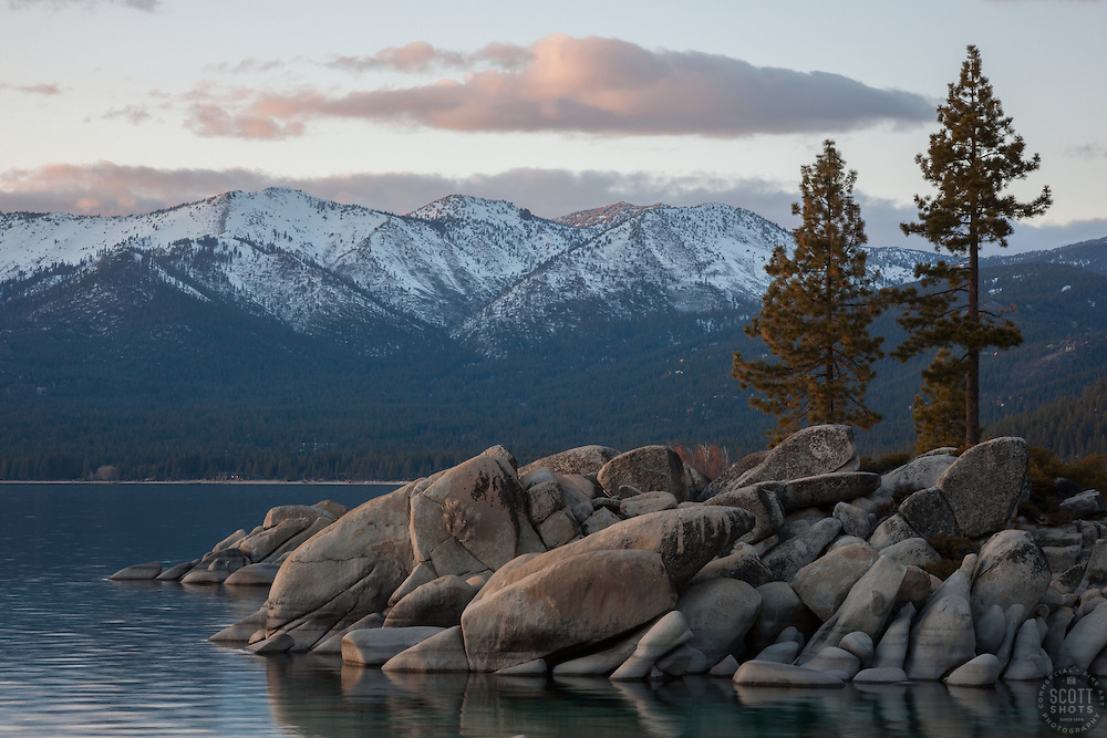 """Tahoe Boulders at Sunset 4"" - These boulders, trees and mountain were photographed during sunset at Sand Harbor, Lake Tahoe."