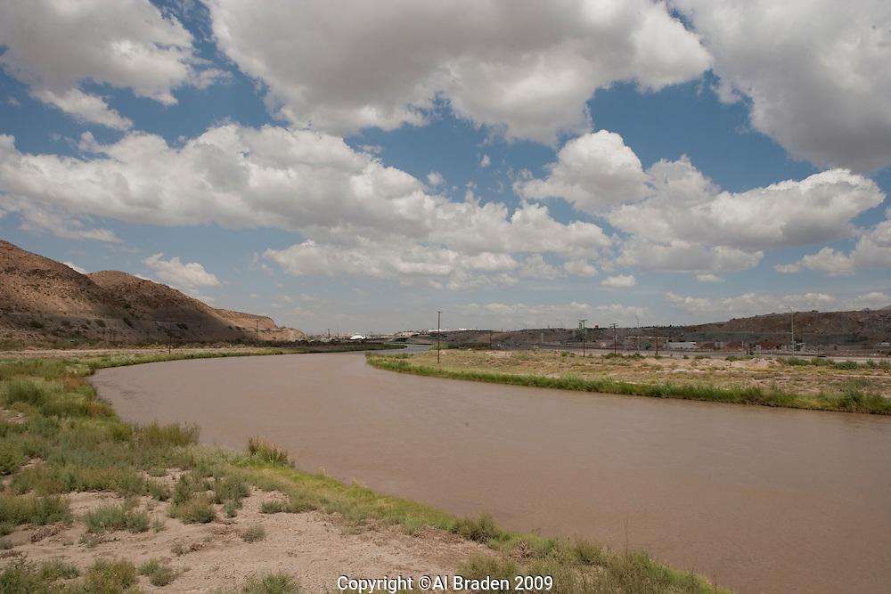 Rio Grande enters El Paso at El Paso del Norte.