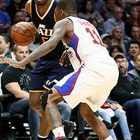 25 March 2016: Utah Jazz guard Rodney Hood (5) eyes the basket during the Los Angeles Clippers 108-95 victory over the Utah Jazz, at the Staples Center, Los Angeles, California, USA.