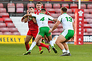 11th November 2018 , Racecourse Ground,  Wrexham, Wales ;  Rugby League World Cup Qualifier,Wales v Ireland ; Elliot Kear of Wales is tackled by Jack Higginson of Ireland <br /> <br /> <br /> Credit:   Craig Thomas/Replay Images