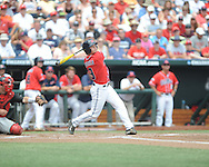 Mississippi's Auston Bousfield (9) vs. Texas Tech at T.D. Ameritrade Park in the College World Series in Omaha, Neb. on Tuesday, June 17, 2014. Ole Miss won 2-1.
