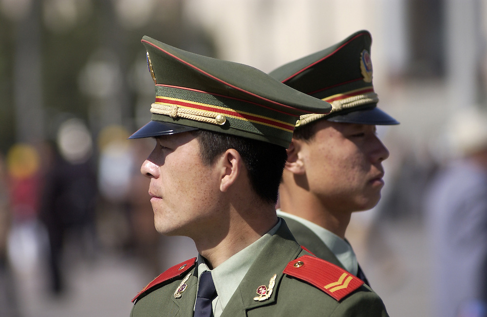 Young cadets at Tiananmen Square in China.