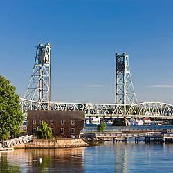 The Memorial Bridge spans the Pisctaqua River in Portsmouth, New Hampshire.