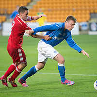 SPFL Development League...St Johnstone v Aberdeen..01.10.14<br /> Connor McLaren fends off Craig Murray<br /> Picture by Graeme Hart.<br /> Copyright Perthshire Picture Agency<br /> Tel: 01738 623350  Mobile: 07990 594431