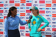 Meg Lanning captain of Australia speaks during the presentation of the first women's one day International ( ODI ) match between India and Australia held at the Reliance Cricket Stadium in Vadodara, India on the 12th March 2018<br /> <br /> Photo by Vipin Pawar / BCCI / SPORTZPICS