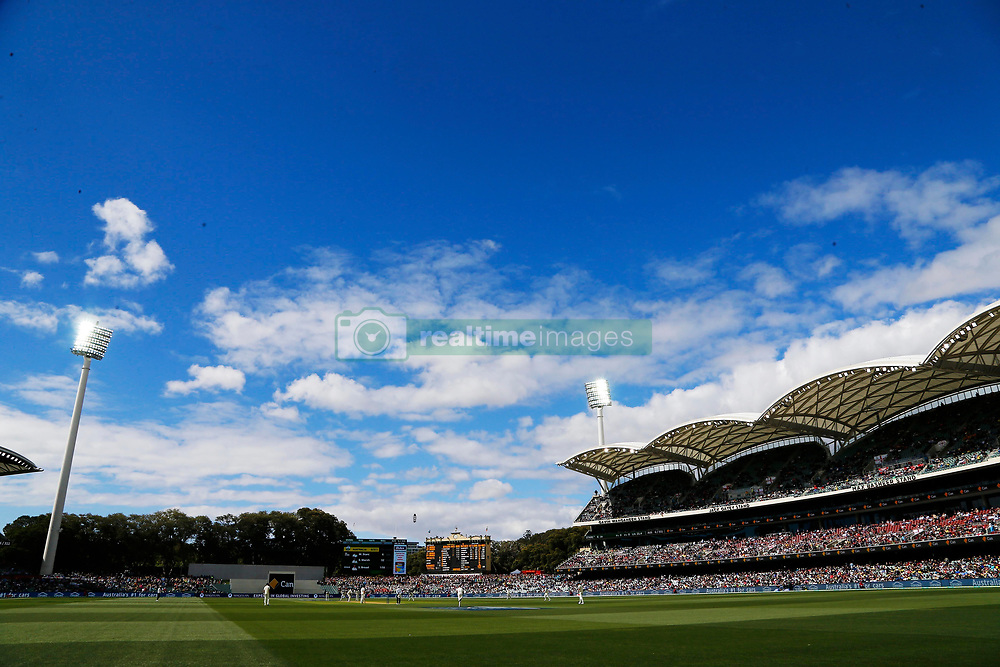 General view as the sun shines afte tea during day two of the Ashes Test match at the Adelaide Oval, Adelaide.
