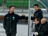 08/07/14 PRE-SEASON FRIENDLY<br /> LASK LINZ V CELTIC<br /> LINZER STADION - AUSTRIA<br /> Celtic manager Ronny Deila (left) and assistant John Collins are all smiles in the dugout.