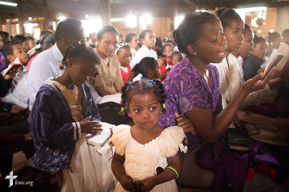 A young girl attends worship with family at Ivato Lutheran Church in the capital city of Antananarivo in Madagascar, on Sunday, Feb. 9, 2014. LCMS Communications/Erik M. Lunsford