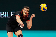 Poland, Krakow - 2017 September 03: Christian Fromm from Germany serves the ball while final match between Germany and Russia  during Lotto Eurovolleyball Poland 2017 - European Championships in volleyball at Tauron Arena on September 03, 2017 in Krakow, Poland.<br /> <br /> Mandatory credit:<br /> Photo by © Adam Nurkiewicz<br /> <br /> Adam Nurkiewicz declares that he has no rights to the image of people at the photographs of his authorship.<br /> <br /> Picture also available in RAW (NEF) or TIFF format on special request.<br /> <br /> Any editorial, commercial or promotional use requires written permission from the author of image.