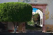 Queretaro, Mexico, August, 2006-A driveway leads into a lush garden.