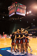 Tactix team huddle during the ANZ Championship Netball game between the Mainland Tactix v Adelaide Thunderbirds at Horncastle Arena in Christchurch. 20th April 2015 Photo: Joseph Johnson/www.photosport.co.nz