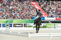 Kristina Sprehe, (GER), Desperados FRH - Freestyle Grand Prix Dressage - Alltech FEI World Equestrian Games™ 2014 - Normandy, France.<br /> © Hippo Foto Team - Jon Stroud<br /> 25/06/14