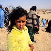Safia Mustafa Mohamed, 6 years old Saharawi refugee in the hills of the refugee camp of Awserd, Tindouf (Algeria)