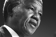 Nelson Mandela in Glasgow, Scotland, on 9th October 1993. Mandela was in Glasgow to receive the 'Freedom of the City' honour.