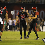 10 September 2016: The San Diego State Aztecs football team hosts Cal in their second game of the season. San Diego State kicker John Baron II (29) celebrates after making a 40 yard field goal.  The Aztecs lead 31-21 at halftime.