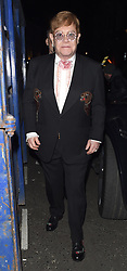 Celebrities leaving Andrew Lloyd Webber's 70th birthday party, held at Theatre Royal, Drury Lane. Sir Elton John, Sir Michael Caine and Rowan Atkinson were all seen leaving the venue, not looking in the best of health.<br />