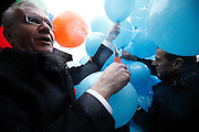Candidates for mayor of Zagreb Rajko Ostojic and Milan Bandic release balloons on World Autism Day.