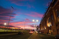 Views of Ibrox Stadium, the home ground of Scottish Premier League club Rangers. The football stadium is located on the south side of the River Clyde, on Edmiston Drive in the Ibrox district of Glasgow.