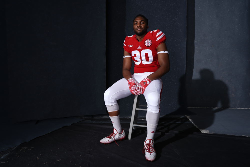 Quayshon Alexander #30 during a portrait session at Memorial Stadium in Lincoln, Neb. on June 6, 2017. Photo by Paul Bellinger, Hail Varsity