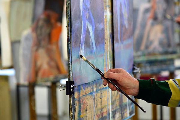 Belgie, Arendonk, 22-2-2014Open dag bij de academie, kunstacademie in dit dorp vlak over de grens met Nederland bij Valkenswaard.De opleiding is erg in trek, populair bij Nederlanders, vooral de wat oudere, omdat het een deeltijd opleiding is.Foto: Flip Franssen/Hollandse Hoogte