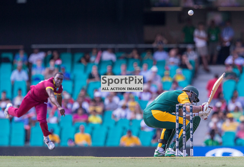 ICC Cricket World Cup 2015 Tournament Match, South Africa v West Indies, Sydney Cricket Ground; 27th February 2015<br /> West Indies Jerome Taylor bowls a bouncer to South Africa&rsquo;s Hashim Amla