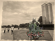 East Meadow, New York, U.S. September 10, 2020. The Nassau County 9/11 Memorial includes a tall metal sculpture representing the Twin Tower, two pieces of beams from the original Twin Towers, and a Survivor Tree. Because of rain prediction, the 19th anniversary of September 11 terrorist attacks with Remembrance and Name Recitation Ceremony was held at Harry Chapin Theater across the pond in Eisenhower Park.