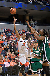 Virginia Cavaliers Center Siedah Williams (4) shoots in action against Charlotte.  The Virginia Cavaliers women's basketball team defeated The University of North Carolina - Charlotte 49ers 74-72 in the 2nd round of the Women's NIT at John Paul Jones Arena in Charlottesville, VA on March 19, 2007.