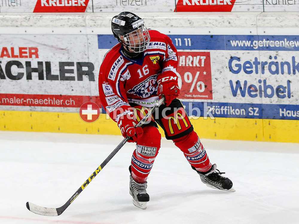 Rapperswil-Jona Lakers defenseman Riccardo AURIEMMA is pictured during a Novizen Elite ice hockey game between Rapperswil-Jona Lakers and SC Bern Future held at the Diners Club Arena in Rapperswil, Switzerland, Saturday, Feb. 6, 2016. (Photo by Patrick B. Kraemer / MAGICPBK)