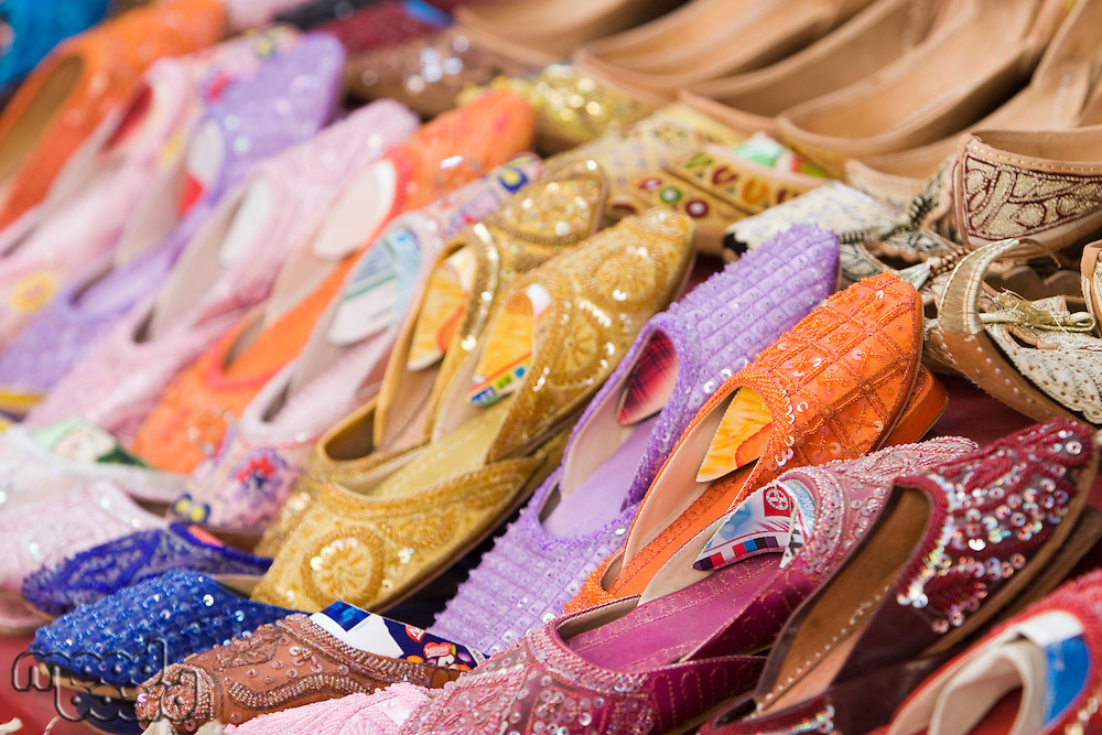 Dubai UAE Colorful women's sandals made of camel skins are for sale in the Bur Dubai souq.