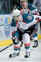 KELOWNA, CANADA, JANUARY 25: Zach Franko #9 of the Kelowna Rockets skates on the ice as the Kamloops Blazers visit the Kelowna Rockets on January 25, 2012 at Prospera Place in Kelowna, British Columbia, Canada (Photo by Marissa Baecker/Getty Images) *** Local Caption ***